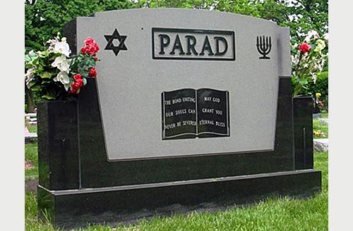 Gravestone Design With Hebrew Inscription And Jewish Symbols